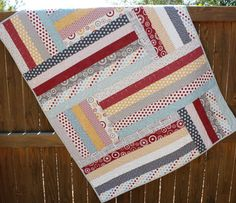 Hometown Blue Red Gray & Yellow Baby Boy Quilt by JennyMsQuilts, $140.00
