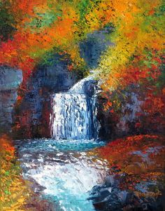 """Waterfall in Spain, 11x14"""" original textured Impressionist oil painting, Nash #ContemporaryImpressionism"""