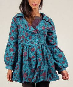 Look what I found on #zulily! Turquoise & Red Morgane Coat by Ian Mosh #zulilyfinds