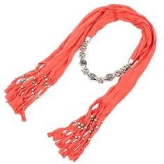 Scarf Jewelry Necklace Coral