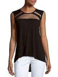 Bcbgmaxazria Windowed Sleeveless Top In Black Workout Gear, Fashion Outfits, Womens Fashion, My Wardrobe, Black Tops, Basic Tank Top, Kurtis, Sewing, Chic