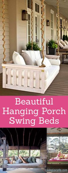 I want these for my front porch! Home Decor and Garden Inspiration for your yard. Beautiful inspiration for hanging porch swing beds. Creative swing bed ideas for your home or garden. Outdoor entertaining at it's best! Hanging Porch Bed, Porch Swing Cushions, Hanging Beds, Porch Swing Beds, Front Porch Swings, Home Swing, Diy Swing, Porch Chairs, Backyard Swings