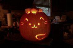 halloween, jack o lantern, pumpkin, pusheen