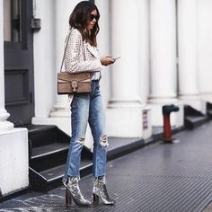 shoes tumblr velvet velvet boots thick heel block heels denim jeans blue jeans cropped jeans jacket studded jacket bag brown bag gucci gucci bag dionysus fall outfits outfit idea