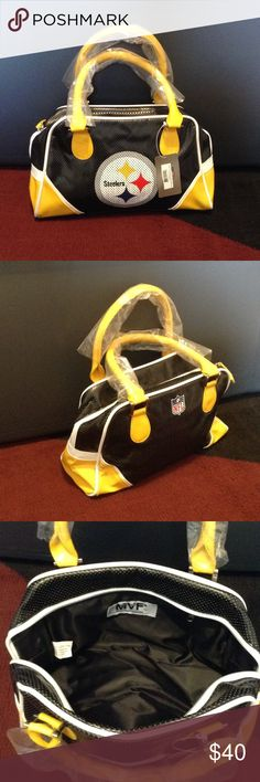 "PITTSBURGH STEELERS PURSE New; never used; Official NFL merchandise with tags; 11"" long; 4"" wide; 5.5"" deep; inside zip pocket; top zip closure; 80% vinyl; 20% polyester Bags"