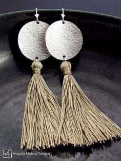The Hammered Full Moon Silver Earrings With Handmade Silk Tassel jewelry, silver, handmade, hand made, love, bridal, wedding, bride, fashion, style, beige, champagne