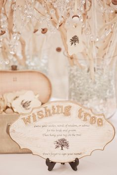 wishing tree: leave your wishes, words of wisdom, or advice for the bride and groom.   what a cute idea