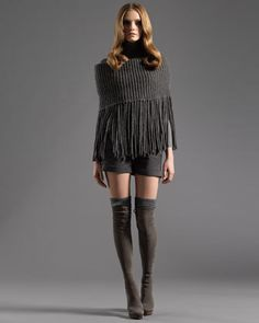 Cape with Zip Detail, Long-Sleeve Turtleneck Sweater & Cuffed Shorts by Gucci at Neiman Marcus.