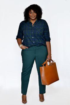 My Curves & Curls™ | A Canadian Plus Size Fashion blog: Plaid Shirt + Ankle Pants