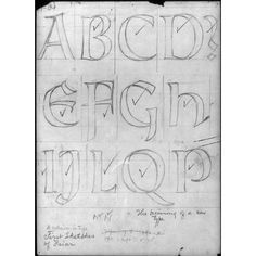 Amazon.com - Photo: Sheet of drawings for Frederic Goudy's Friar type, alphabet letters