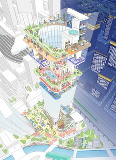 Drawing Sketches, Drawings, Concept Diagram, Infographic, Architecture, Architectural Sketches, Illustration, Mall, Competition