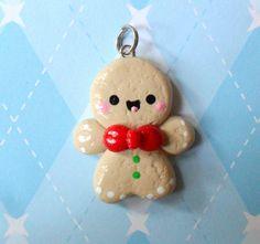 Kawaii Gingerbread Charm x Polymer Clay Christmas, Cute Polymer Clay, Cute Clay, Fimo Clay, Polymer Clay Projects, Polymer Clay Charms, Polymer Clay Creations, Polymer Clay Jewelry, Clay Crafts