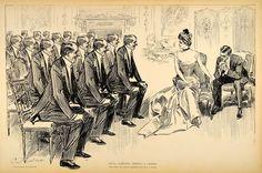 1906 Print Charles Dana Gibson Girl Bachelors Suitors Victorian Societ - Period Paper