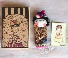 """Three variations of Frida: box, brooch and """"thank you!"""" Watercolor card   All day dedicated to your orders... it's a Joy  Bonjour!  .  .  .   #packaging #frida #fridaart #fridakahlo #friducha #giftbox #dollbrooch #poudrerose #textileart #miniaturedoll #miniature #fashionaccessories #vintagestyle #vintagefashion #etsy #etsydoll #etsyscout #etsyseller"""
