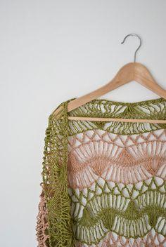 green beige stripes  shawl hairpin lace crochet by annerstreet