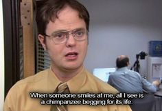 Sometimes we wish we could be more like Dwight from The Office. He says whatever's on his mind, and doesn't worry about the consequences — which, ya know, reminds us of all of the characters on the… The Office Quotes Dwight, Best Office Quotes, Dwight Quotes, Office Memes, Tv Quotes, Funny Quotes, The Office Inspirational Quotes, Quotes From The Office, Work Quotes