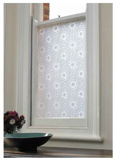 This lovely Emma Jeffs adhesive Window film will keep things in the restroom private but still lets in the natural light. Do you know anyone who might need this little nudge to cover up?