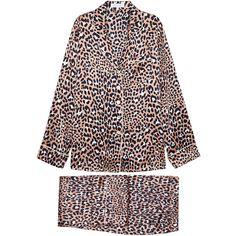 Olivia Von Halle Lila Raelyn Leopard-print Silk Pyjama Set - Size 3 ($510) ❤ liked on Polyvore featuring intimates, sleepwear, pajamas, leopard print pjs, silk pjs, silk sleepwear, leopard print pajamas and silk leopard pajamas