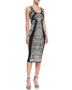 Sleeveless Printed Knee Length Sheath Dress, Black/Ivory by Nicole Miller Artelier at Neiman Marcus.