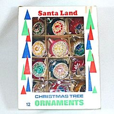 Box Poland Santa Land Round Indent Glass Christmas Ornaments