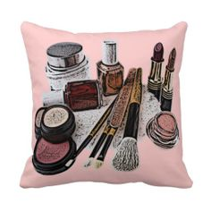 Unique, trendy, fashionable, decorative and pretty throw pillow. Beautiful image of beauty salon makeup products. Like dark red and peach orange gold nail polish, light and pastel pink mauve powder blush and lipstick. For the make up artist, beautician, cosmetologist and the teenage girly girl. Cute girl's or mom's birthday present, Mother's day, or Christmas gift. Original, cool and fun pillow art to decorate your salon, spa, store, your or your children's bedroom, or college dorm with.