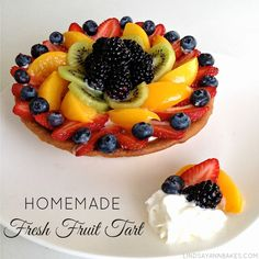 So beautiful and simple! Homemade Fresh Fruit Tart With Vanilla Custard Pastry Cream