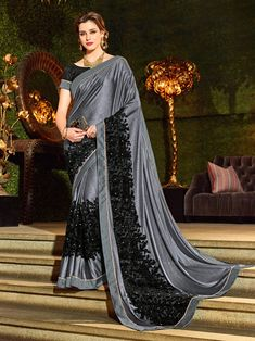 Indian Women Grey & Black Color Jacquard Stylish Saree Vibrant and visually appealing, this grey and black color imported coated fabrics and imp net jacquard fabrics and jacquard border and diamond border saree. Ideal for party, festive & social gathering Georgette Sarees, Silk Sarees, Raw Silk Fabric, Jacquard Fabric, Sarees Online India, Stylish Sarees, Wedding Function, Party Wear Sarees, Indian Designer Wear