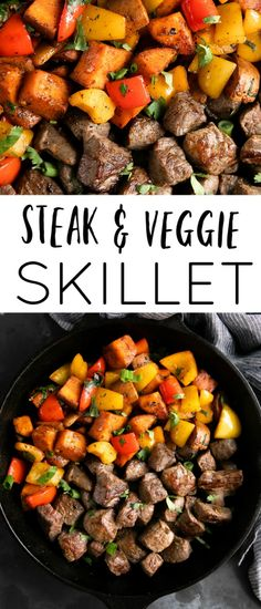 Steak and Sweet Potato Skillet Steak and Sweet Potato Skillet filled with juicy, delicious, and perfectly bite-sized pieces of tender sirloin steak, sweet bell pepper, and creamy sweet potatoes. Gluten-free and easily modified to be compliant. Steak Chili Recipe, Sirloin Steak Recipes, Beef Recipes, Healthy Recipes, Steak Meals, Lasagna Recipes, Ramen Recipes, Carrot Recipes, Fodmap Recipes