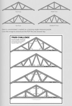 """Free Downloads -- Clip Art to pop into any Geometry quiz or worksheet for angle measures!  Geometry with Roof Trusses - Clipart and worksheet for finding missing angle measures (practicing Angle Addition Postulate, Triangle Sum Theorem, Supplementary Angles.... ANY angle skill!)  Just add your own text boxes to supply """"given information"""" on a quiz or worksheet"""