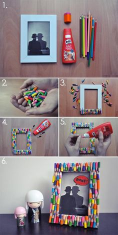 DIY Pencil Picture Frame DIY Picture Frame DIY Home DIY Decor. Well I wouldn& go and break a bunch of perfectly good pencils, but we have enough broken crayons thanks to the kids.Here& a quick and simple way to pretty up an ordinary picture frame and add Diy Photo, Cadre Photo Diy, Kids Crafts, Diy And Crafts, Craft Projects, Kids Diy, Easy Crafts, Picture Frame Crafts, Picture Frames