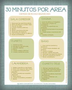 """Mi Casa Organizada: Imprimible: Lista de Tareas """"30 Minutos Por Área"""""""