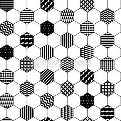 Black and white textured hexagon honeycomb geometric seamless pattern, vector — Illustration #69627299:
