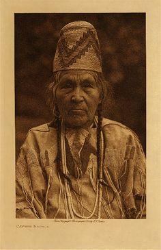 c 1909 Cayuse Indian photo: Edward S. Curtis  (Native American, Oregon, dentalium shells, basketry hat)