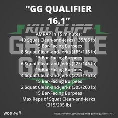 """GG Qualifier 16.1"" WOD - AMRAP in 15 minutes: 10 Squat Clean-and-Jerks (135/85 lb); 15 Bar-Facing Burpees; 8 Squat Clean-and-Jerks (185/115 lb); 15 Bar-Facing Burpees; 6 Squat Clean-and-Jerks (225/145 lb); 15 Bar-Facing Burpees; 4 Squat Clean-and-Jerks (275/175 lb); 15 Bar-Facing Burpees; 2 Squat Clean-and-Jerks (305/200 lb); 15 Bar-Facing Burpees; Max Reps of Squat Clean-and-Jerks (315/205 lb)"