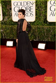 """Eva Longoria.    Golden Globes 2013.    """"Emilio Pucci dress, with Charlotte Olympia heels and earrings by Martin Katz."""""""