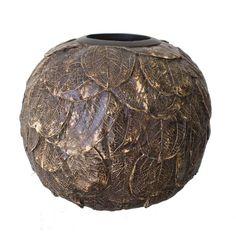 Vase rond texturé brun en résine 8,5x7''