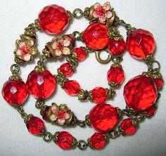 Antique Vintage Art Deco Czech Enamel Crystal Flowers Glass Bead Chain Necklace | eBay