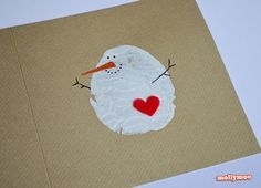 These cute potato stamp snowmen cards. | 23 DIY Christmas Cards You Can Make In Under An Hour