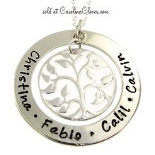 Mother's Necklace - Hand Stamped Jewelry - Family Tree