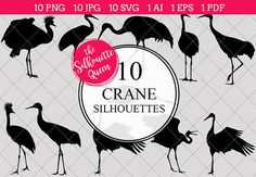 Crane Bird Silhouette Clipart Clip Art includes PNG files with transparent backgrounds at The PNGs are approximately 10 inches at it's widest point. Pine Tree Silhouette, Silhouette Clip Art, Animal Silhouette, Black Silhouette, Silhouette Studio, Animal Cutouts, Shape Templates, Printable Animals, Crane Bird