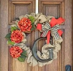 Inspire Me Grey: DIY Monogrammed Fall Wreath tutorial Izard Anderson Grizzle Hardy Burlap Crafts, Wreath Crafts, Diy Wreath, Door Wreaths, Wreath Ideas, Burlap Wreath Tutorial, Burlap Wreaths, Burlap Ribbon, Cute Crafts