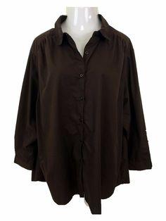 2f06f8fc09b4c Roarman s Women s Blouse 2X Plus Size Cotton Brown Long Sleeve Button Front   Roarmans  Blouse