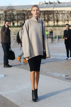 Slouchy turtleneck and a snug skirt make for a lovely contrast http://slufoot.tumblr.com/post/78260574715/flarefashion-flare-paris-fashion-week-aw14