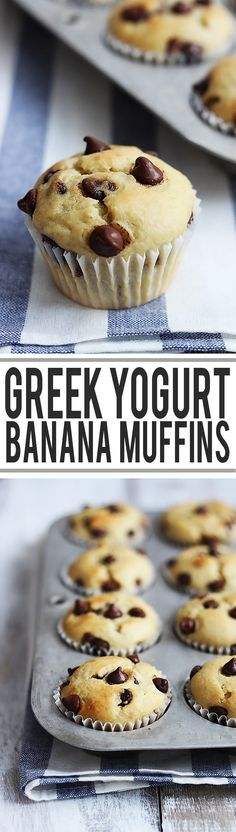 Fluffy chocolate chip banana muffins made extra moist and packed with a protein boost from greek yogurt!