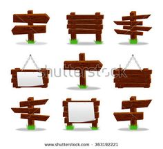 Wooden signs set, 10eps.
