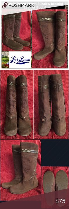 "Lucky Brand Brown Suede & Braided Leather Boots! Lucky Brand Brown Suede & Braided Leather Boots! Features: brown suede, wide leather braided trim & design, pull-on style, soft lining, non-skid sole, round toe, 3 1/4"" across bottom, flat- no heel. Approximate 15"" around calf, 14 1/2"" tall shaft, ankle circumference 12 1/2"". Sz 8. Minor heel wear. Super cool, comfy boots! Ex condition. Offers welcome! Lucky Brand Shoes"