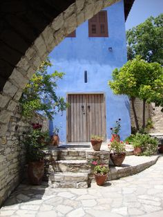 Lefkara Village in Cyprus. Love the tone of the blue.