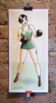 illustration female boxer