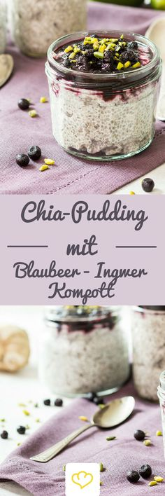 Kokos-Chia-Pudding mit Blaubeer-Ingwer-Kompott Als Frühstück oder gesunden Snack zwischendurch – einmal probiert, kannst du das Löffeln garantiert nicht mehr aufhören. Das fruchtige Blaubeerkompott mit Ingwer und Zimt passt wunderbar zur exotischen Kokosnote des Chia-Puddings. #blaubeer #chia #chiapudding: