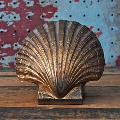 c 1970s Vintage Brass Shell Bookend Doorstop by SquidWhaleDesigns, $22.00